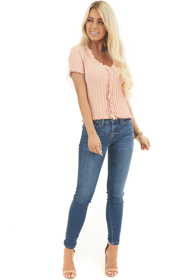 Peach Button Up Ribbed Knit Top with Ruffle Trim front full body