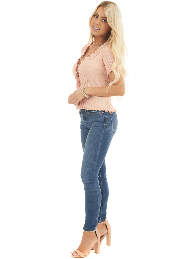 Peach Button Up Ribbed Knit Top with Ruffle Trim side full body