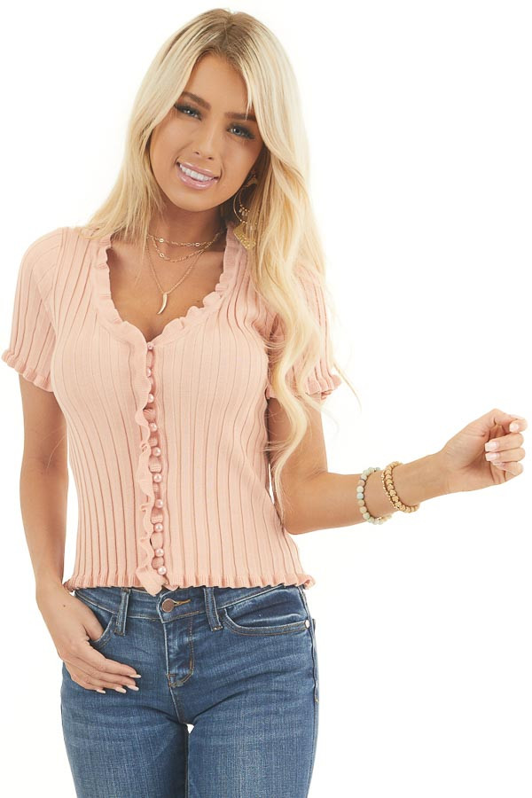 Peach Button Up Ribbed Knit Top with Ruffle Trim front close up