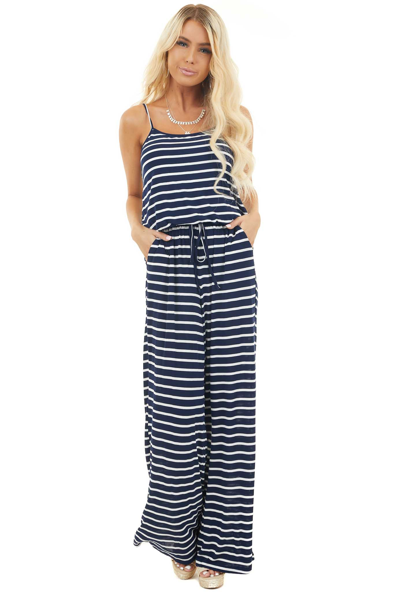 Navy Blue and White Striped Spaghetti Strap Jumpsuit front full body