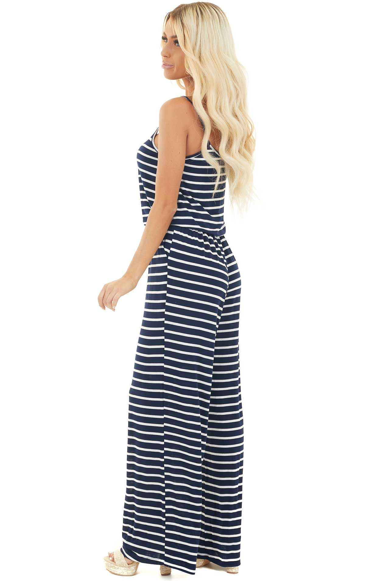 Navy Blue and White Striped Spaghetti Strap Jumpsuit side full body