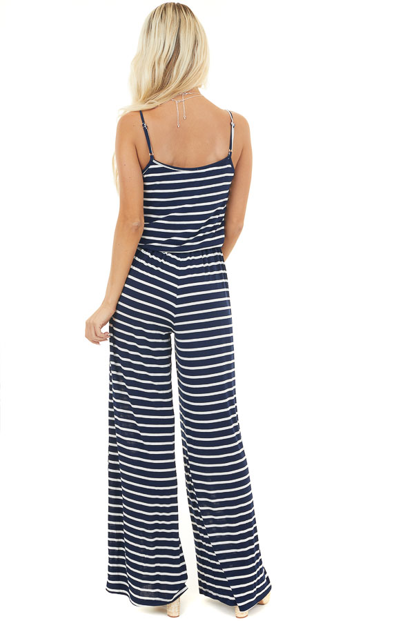 Navy Blue and White Striped Spaghetti Strap Jumpsuit back full body