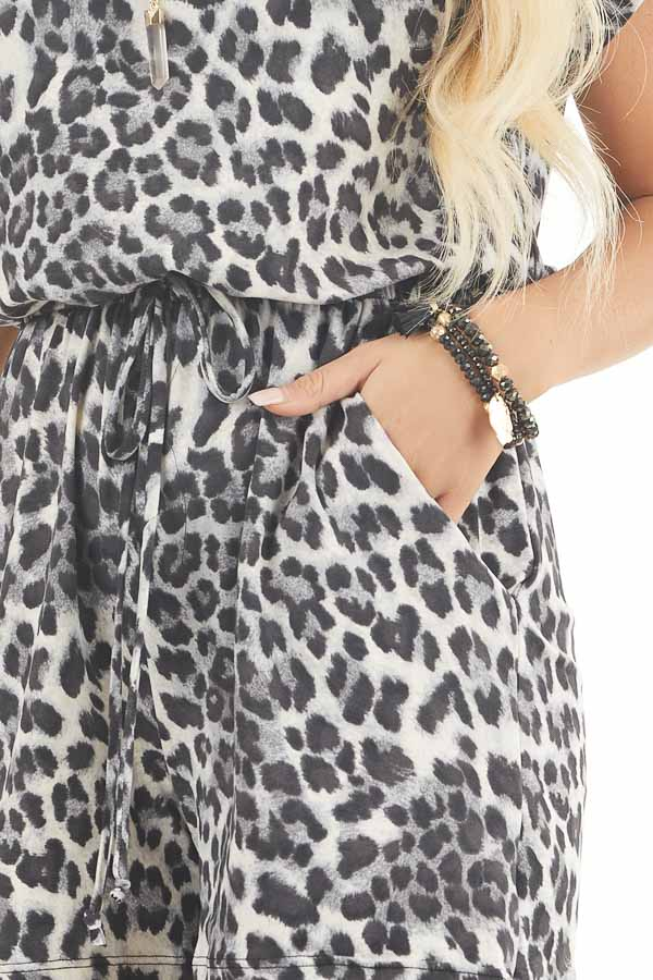Slate Grey and Black Leopard Print Romper with Waist Tie detail