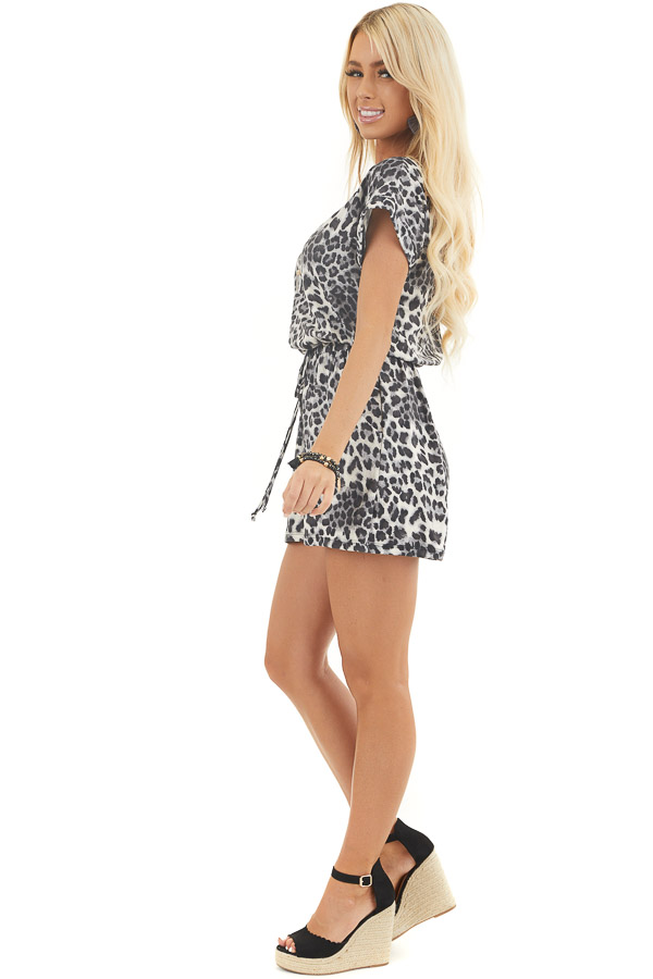 Slate Grey and Black Leopard Print Romper with Waist Tie side full body