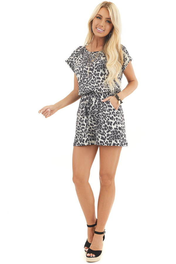Slate Grey and Black Leopard Print Romper with Waist Tie front full body