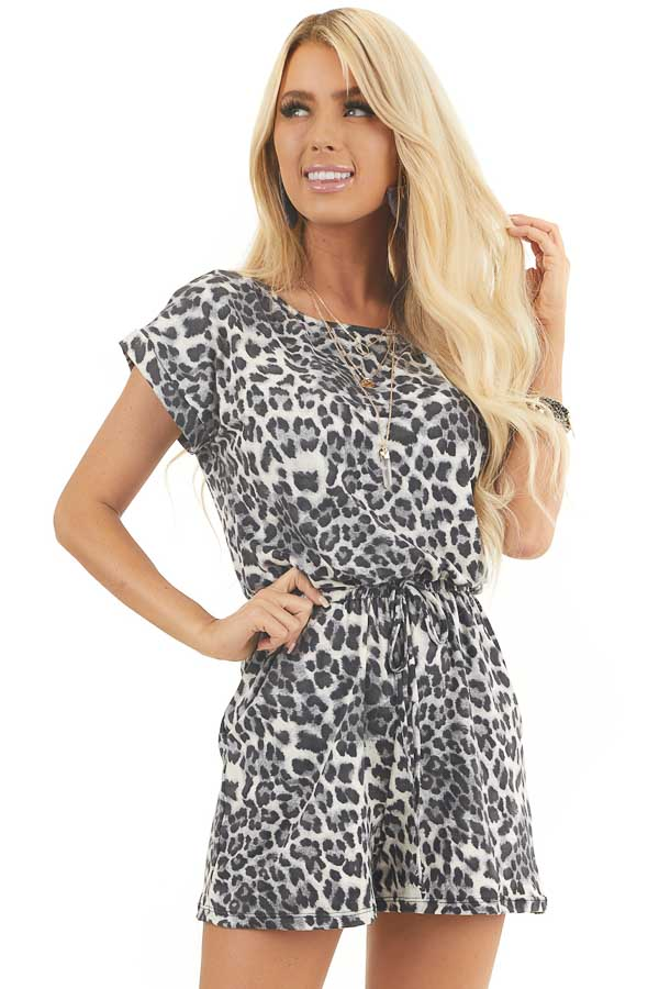 Slate Grey and Black Leopard Print Romper with Waist Tie front close up