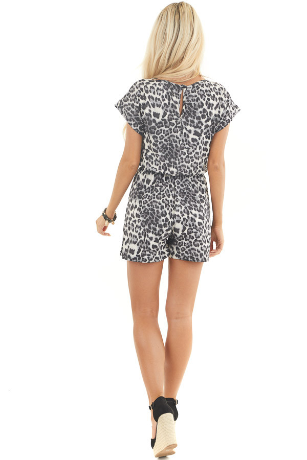 Slate Grey and Black Leopard Print Romper with Waist Tie back full body