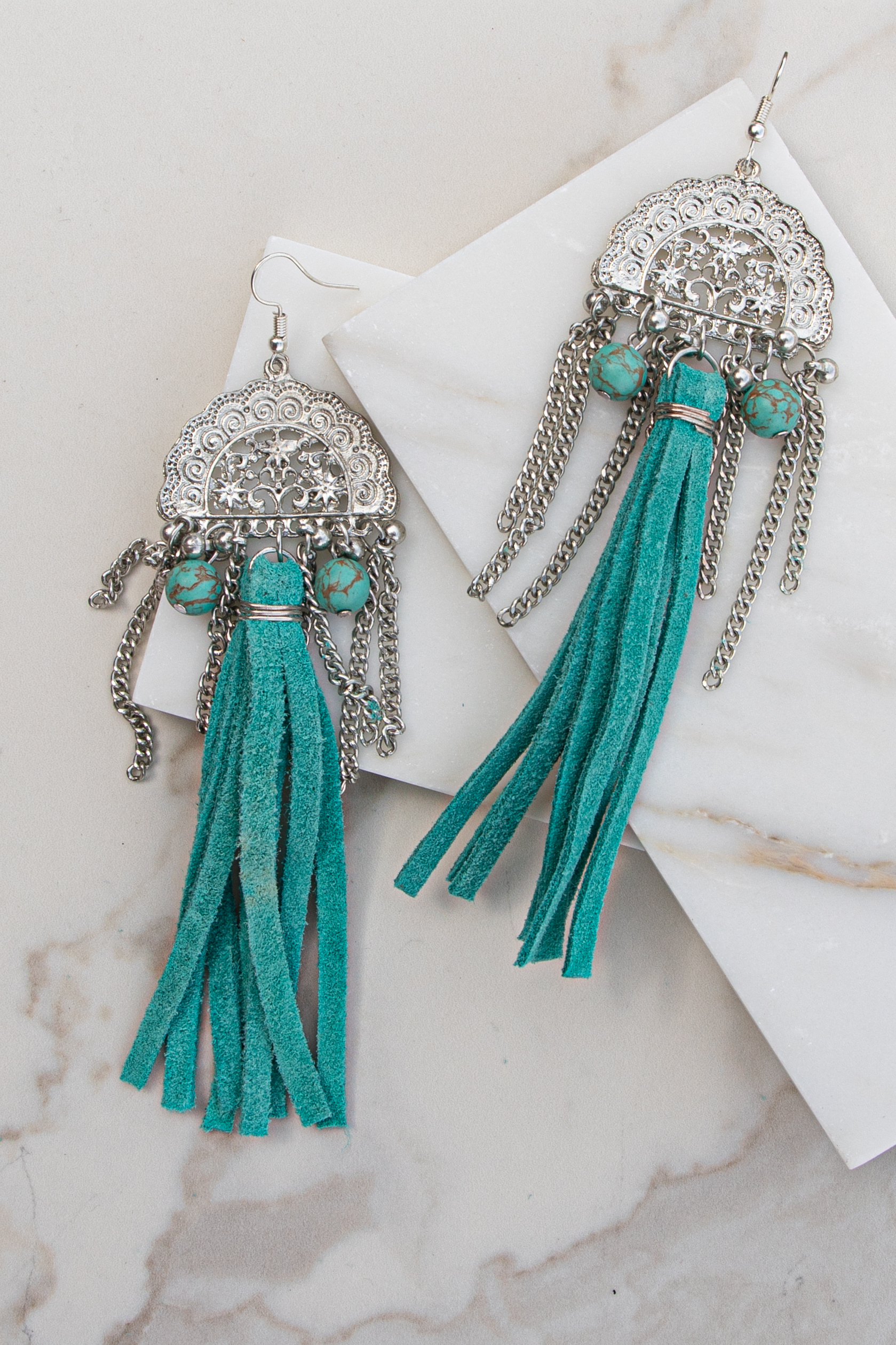 Silver and Teal Earrings with Bead and Faux Leather Details