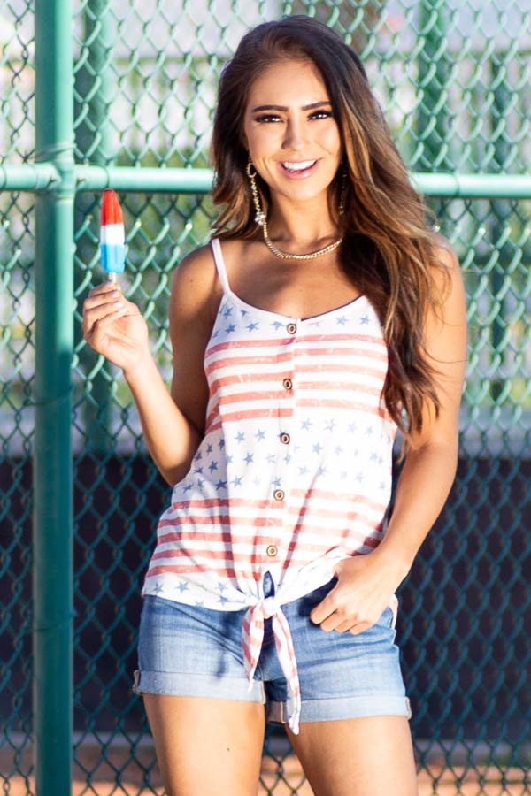 White Button Up Stars and Stripes Waffle Knit Tank Top