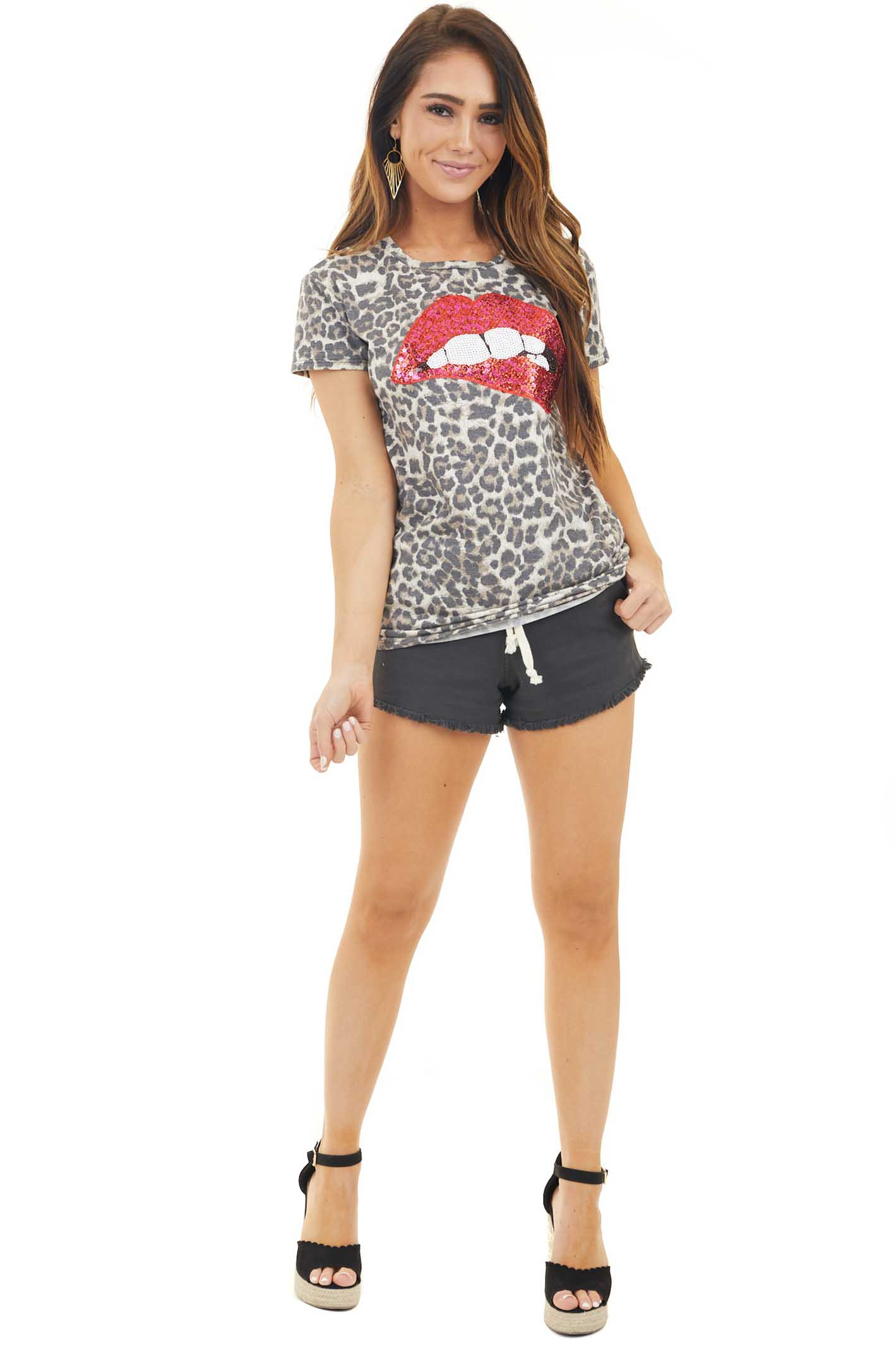 Mocha Leopard Print Top with Sequin Lip Graphic front full body