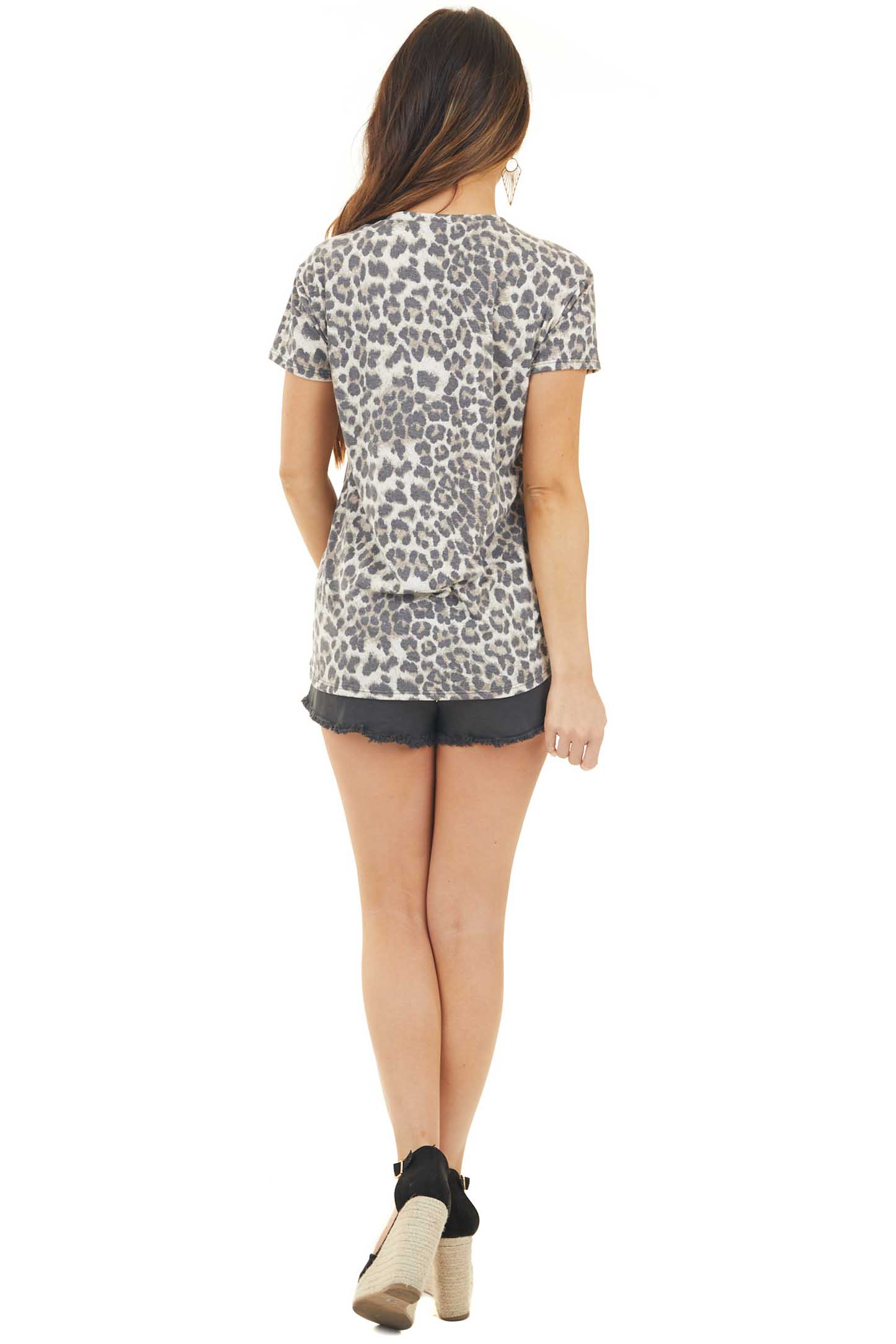Mocha Leopard Print Top with Sequin Lip Graphic back full body