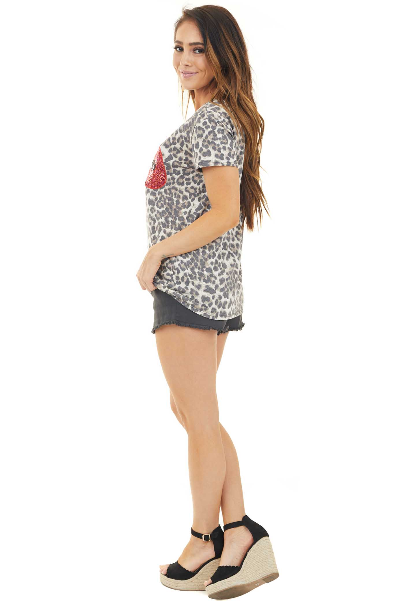 Mocha Leopard Print Top with Sequin Lip Graphic side full body
