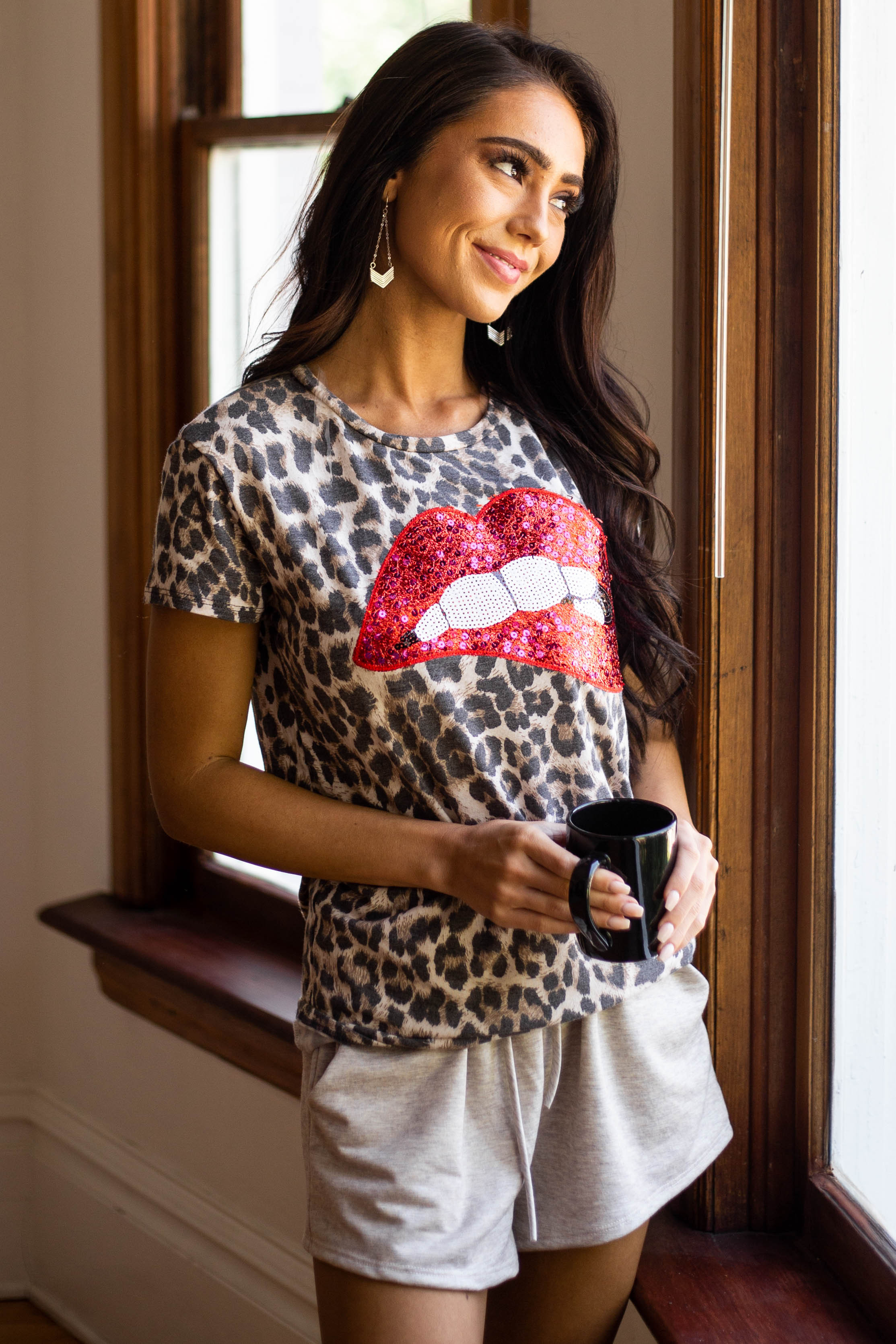 Mocha Leopard Print Top with Sequin Lip Graphic