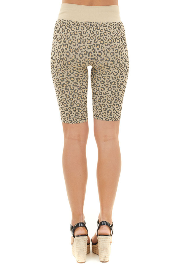 Beige and Black Leopard Print Very Stretchy Biker Shorts back view