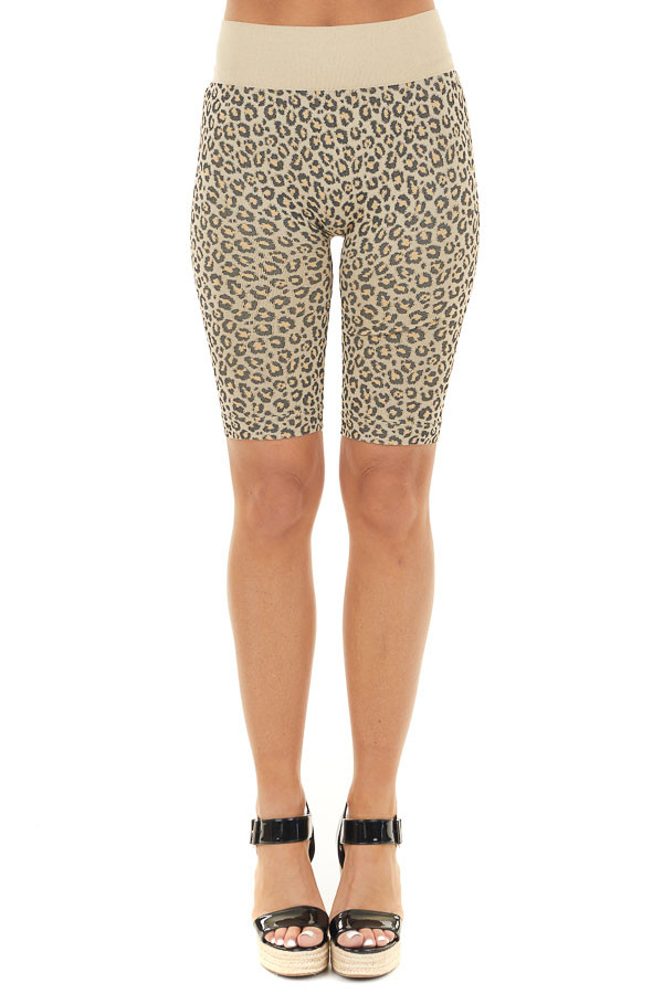 Beige and Black Leopard Print Very Stretchy Biker Shorts front view