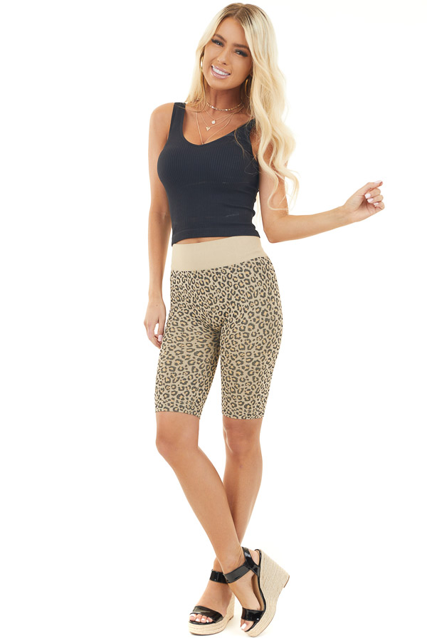 Beige and Black Leopard Print Very Stretchy Biker Shorts front full body