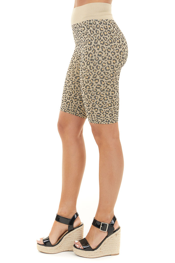 Beige and Black Leopard Print Very Stretchy Biker Shorts side view