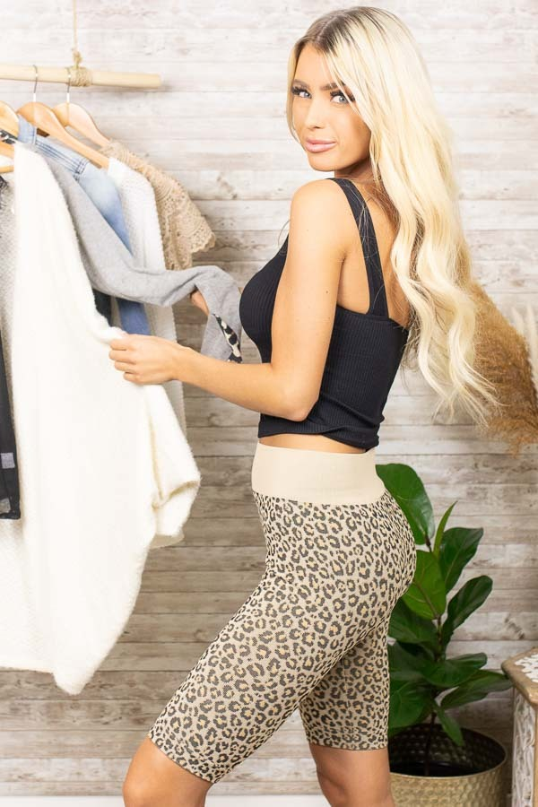 Beige and Black Leopard Print Very Stretchy Biker Shorts
