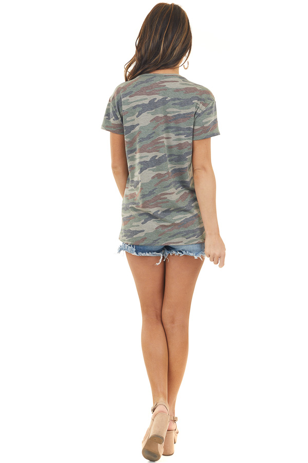 Olive Camo Print Top with Sequined Lip Graphic