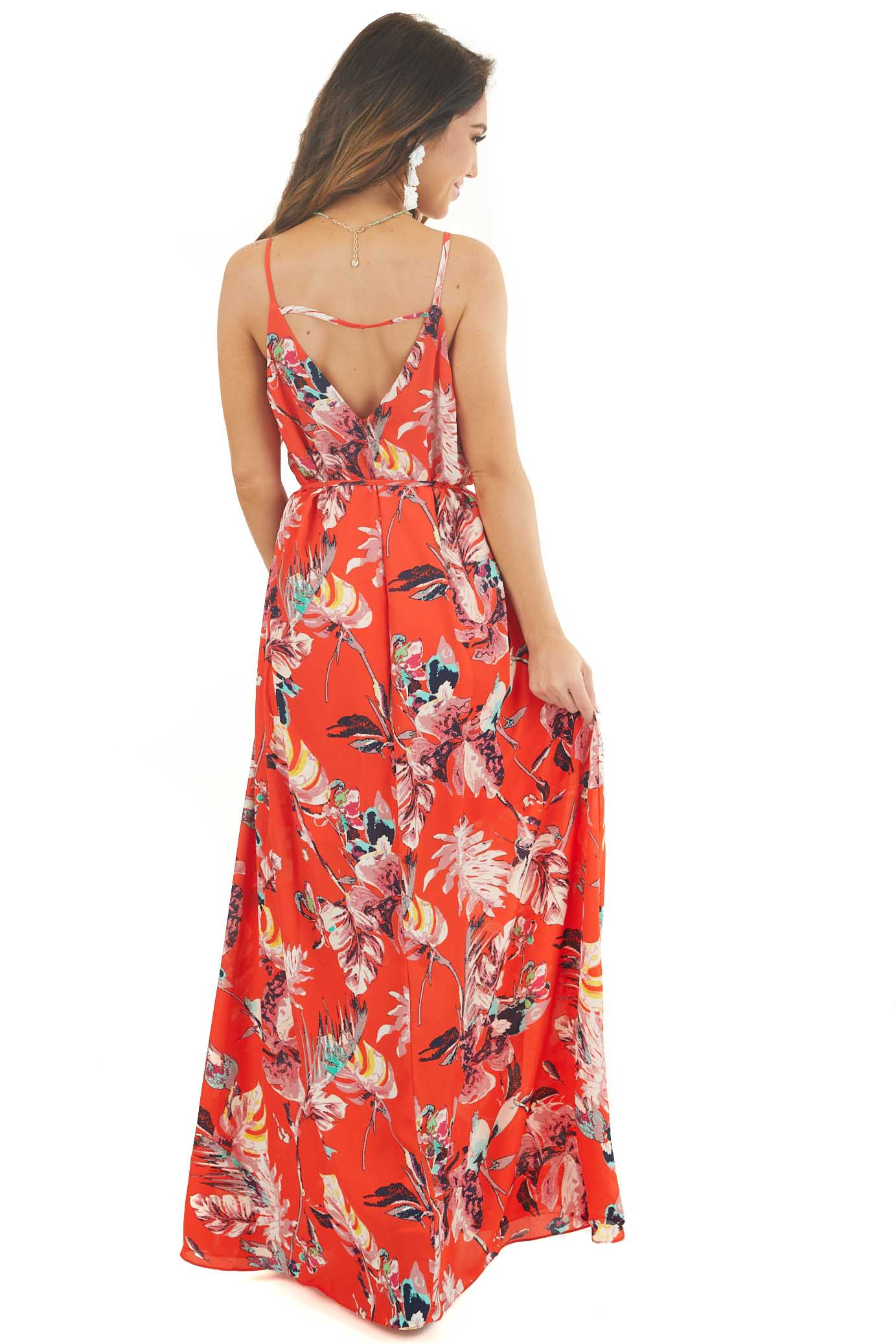 Tomato Red Tropical Print Maxi Dress with Spaghetti Straps back full body