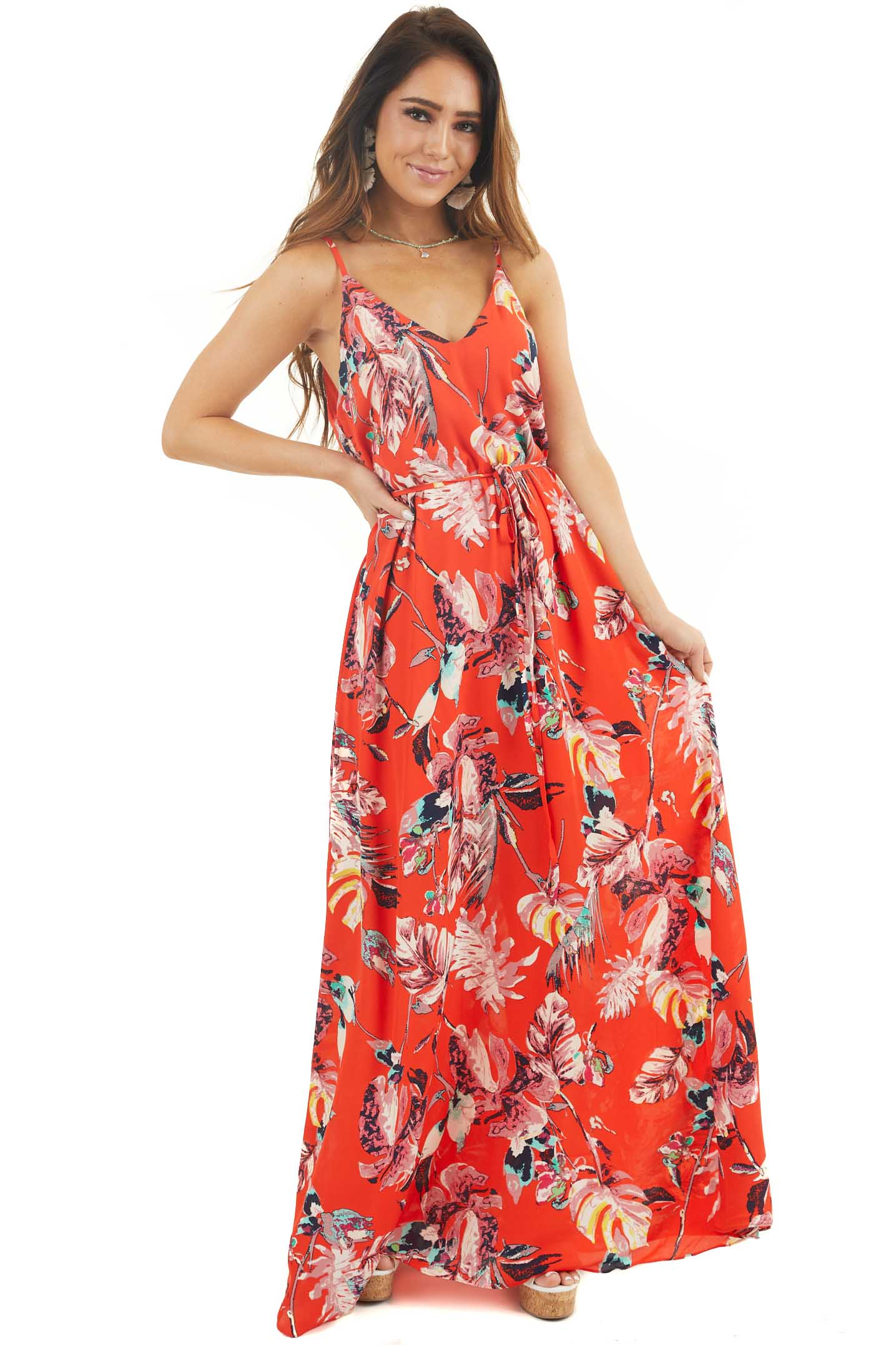 Tomato Red Tropical Print Maxi Dress with Spaghetti Straps