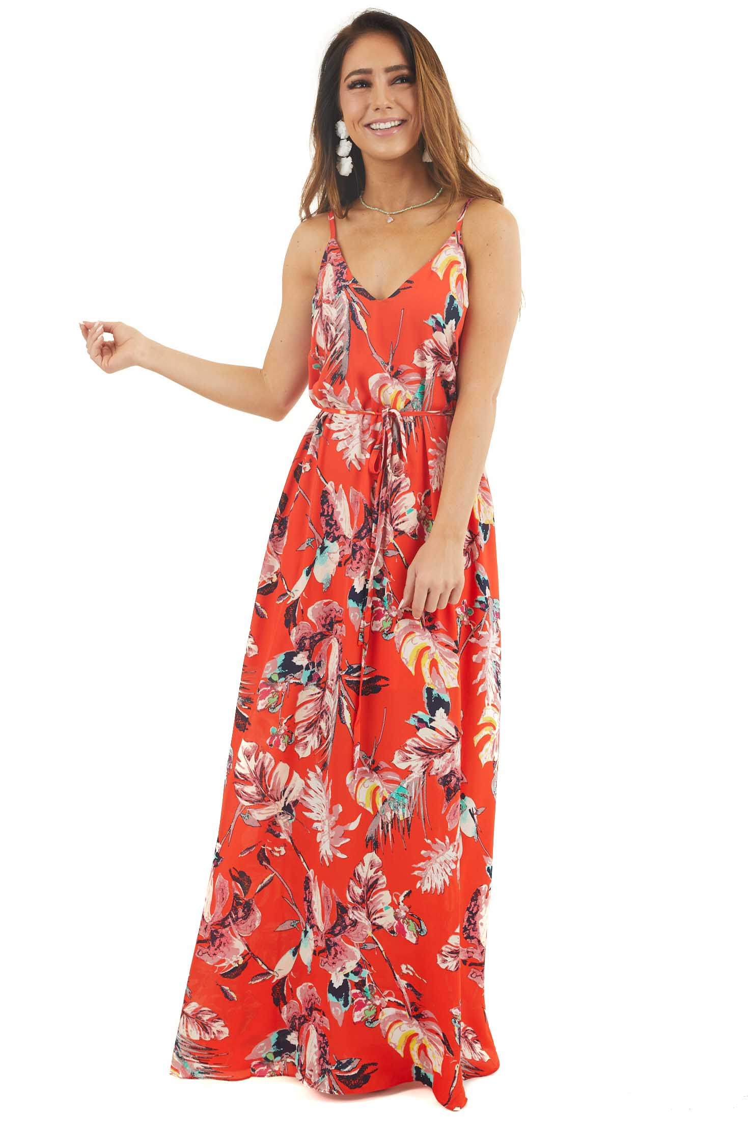 Tomato Red Tropical Print Maxi Dress with Spaghetti Straps front full body