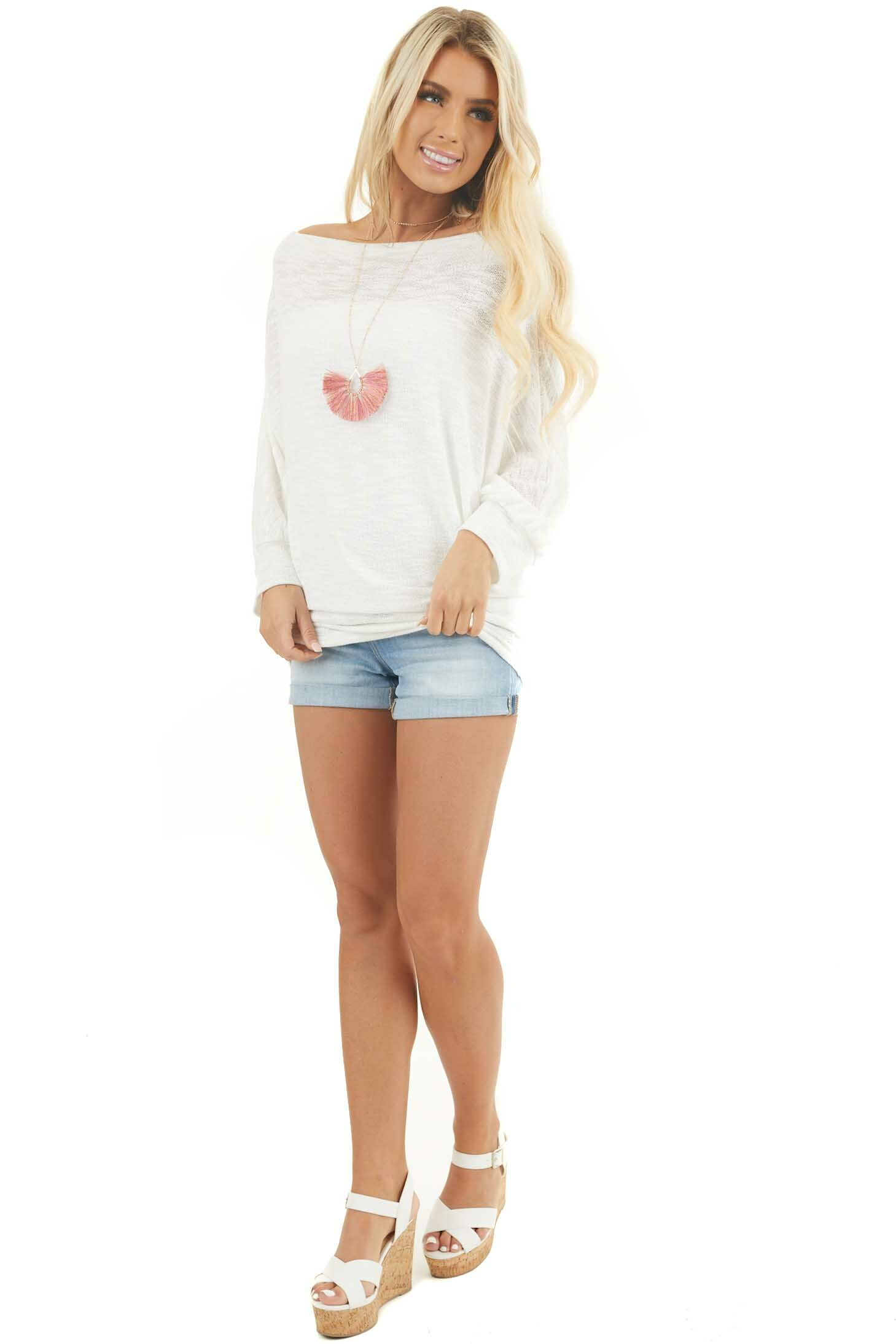 Off White Off the Shoulder Top with Long Dolman Sleeves front full body