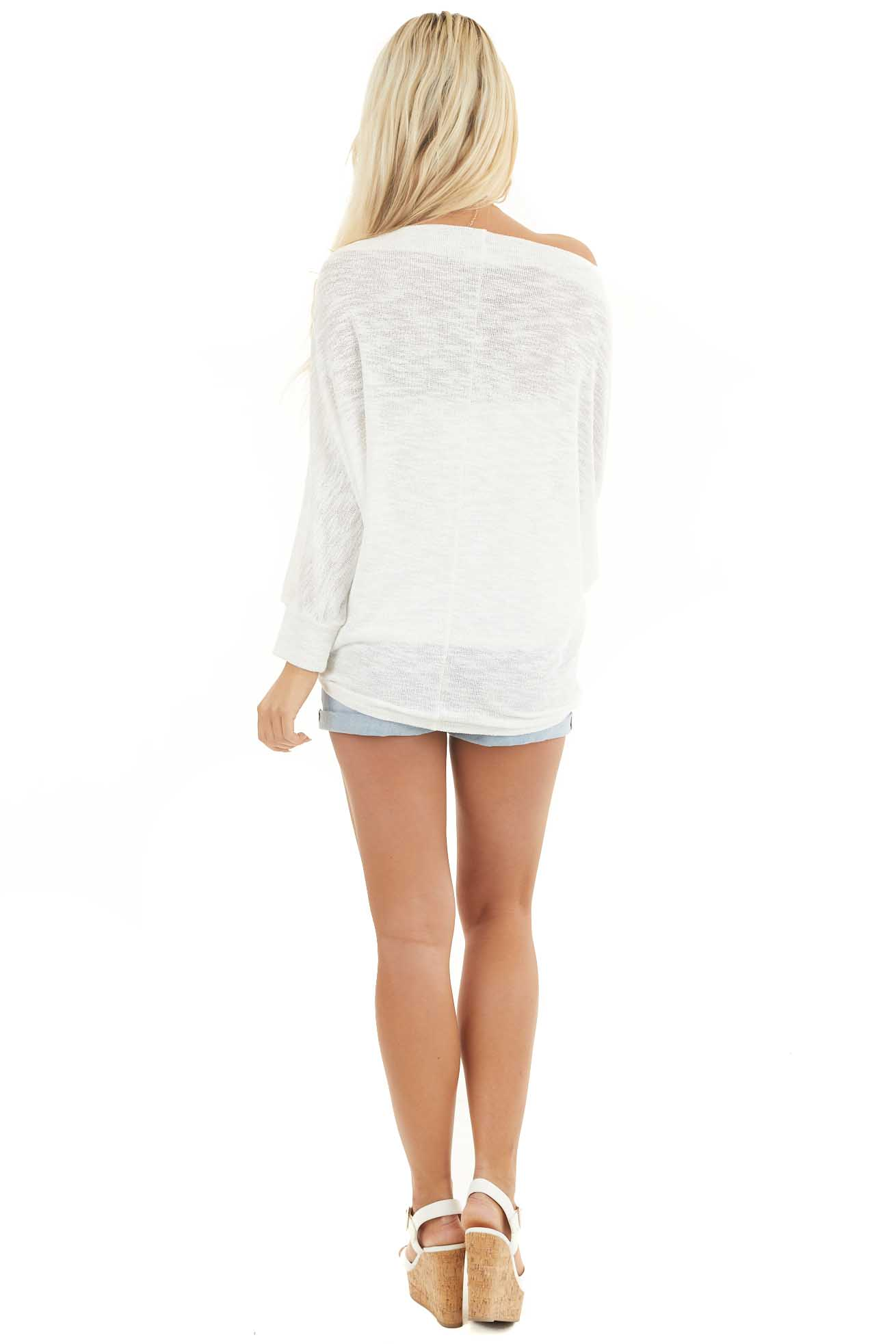 Off White Off the Shoulder Top with Long Dolman Sleeves back full body