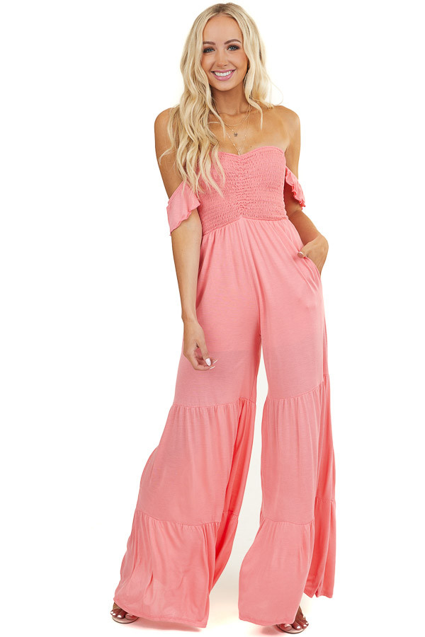 Coral Off Shoulder Smocked Jumpsuit with Tiered Wide Legs