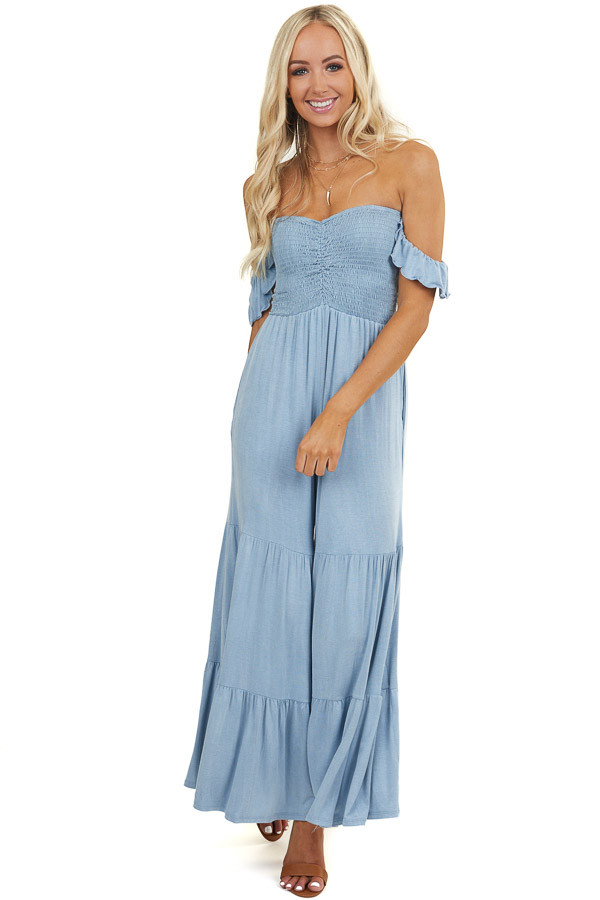 Powder Blue Off Shoulder Smocked Jumpsuit with Tiered Legs