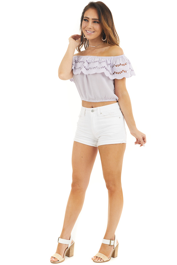 Lilac Off Shoulder Eyelet Lace Crop Top with Ruffle Overlay front full body