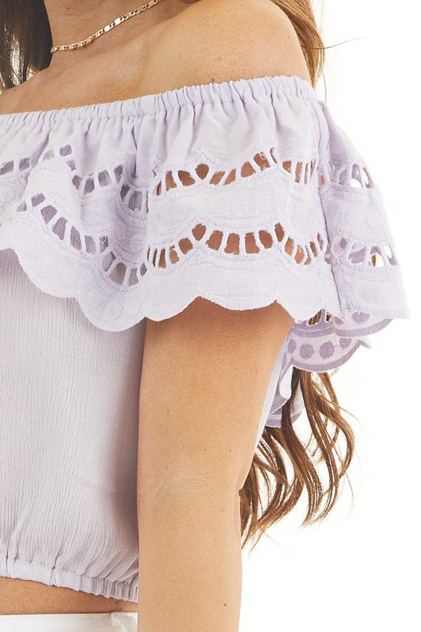 Lilac Off Shoulder Eyelet Lace Crop Top with Ruffle Overlay detail