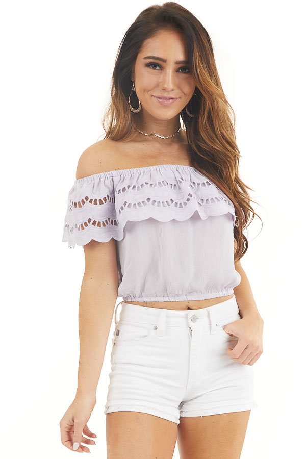 Lilac Off Shoulder Eyelet Lace Crop Top with Ruffle Overlay front close up