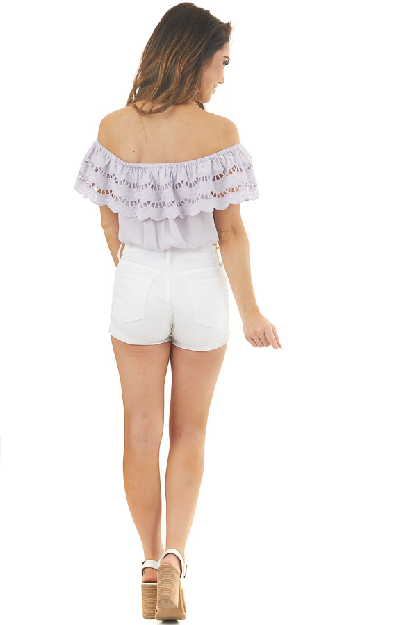 Lilac Off Shoulder Eyelet Lace Crop Top with Ruffle Overlay back full body