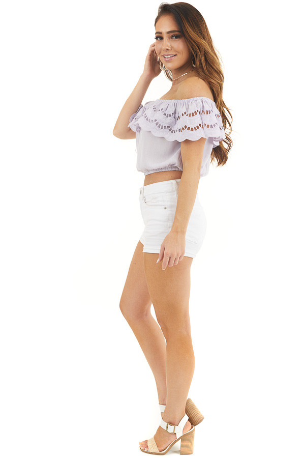Lilac Off Shoulder Eyelet Lace Crop Top with Ruffle Overlay side full body