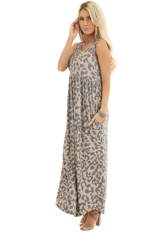 Latte Leopard Print Sleeveless Maxi Dress with Pockets side full body