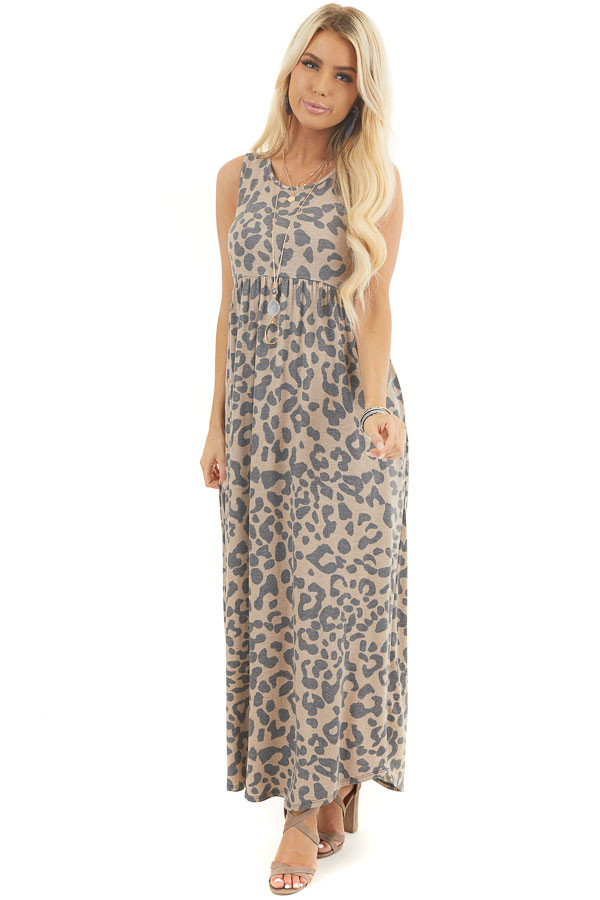Latte Leopard Print Sleeveless Maxi Dress with Pockets front full body