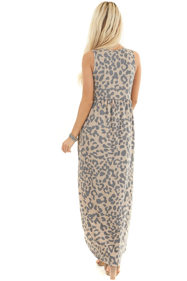 Latte Leopard Print Sleeveless Maxi Dress with Pockets back full body