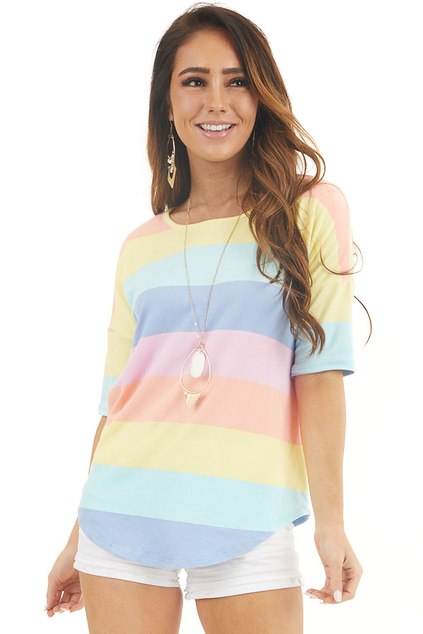 Pastel Multicolor Striped Print Half Sleeve Knit Top front close up