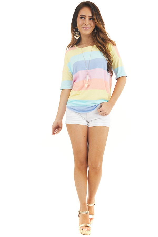 Pastel Multicolor Striped Print Half Sleeve Knit Top front full body