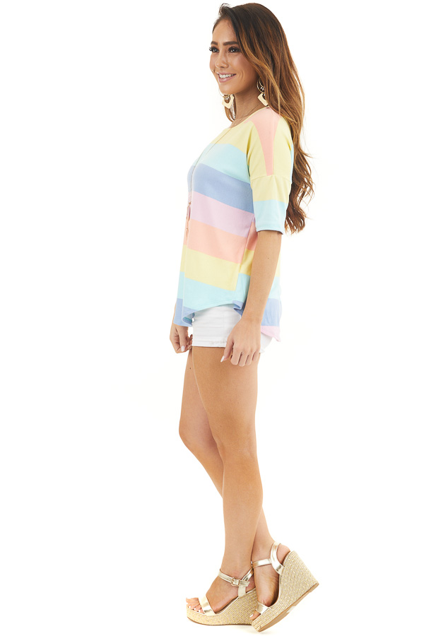 Pastel Multicolor Striped Print Half Sleeve Knit Top side full body