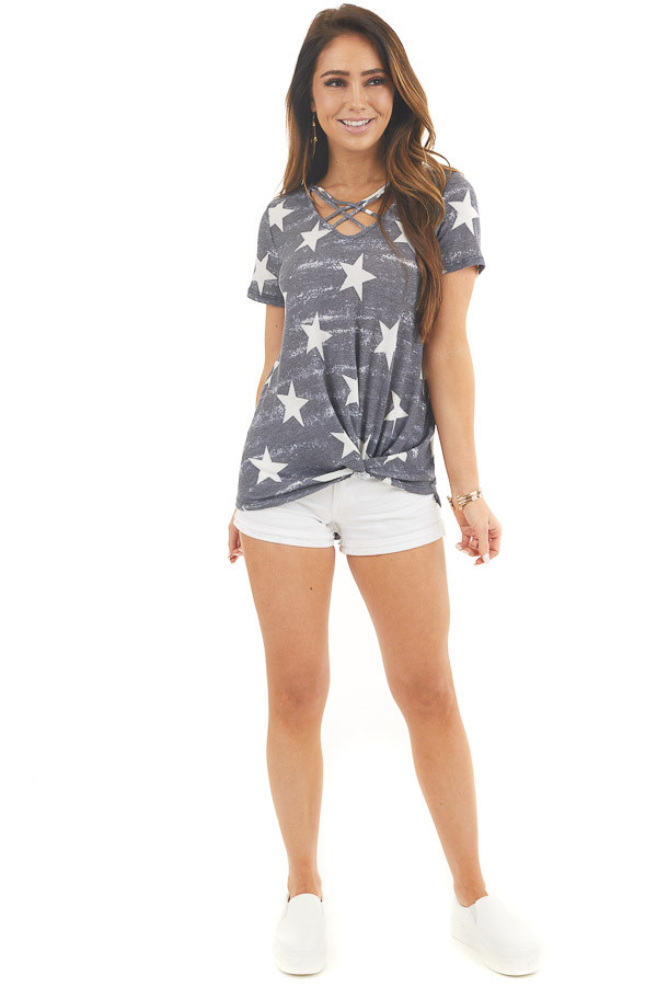 Navy Mineral Wash Patriotic Top with Front Twist Detail