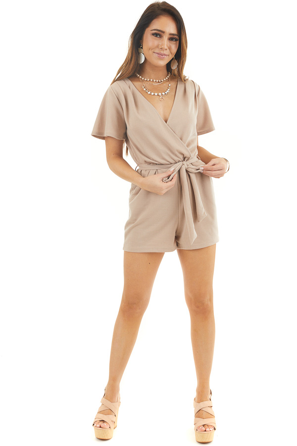 Latte Surplice Short Sleeve Romper with Waist Tie and Pockets front full body