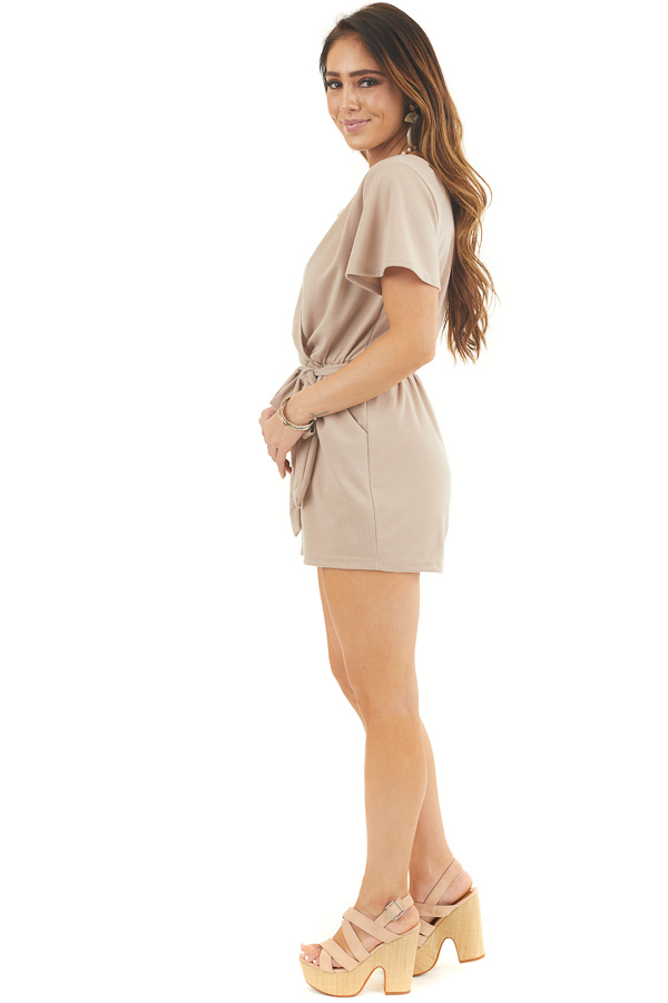 Latte Surplice Short Sleeve Romper with Waist Tie and Pockets side full body