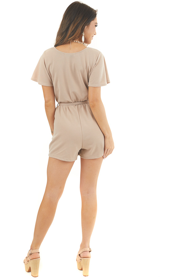 Latte Surplice Short Sleeve Romper with Waist Tie and Pockets back full body