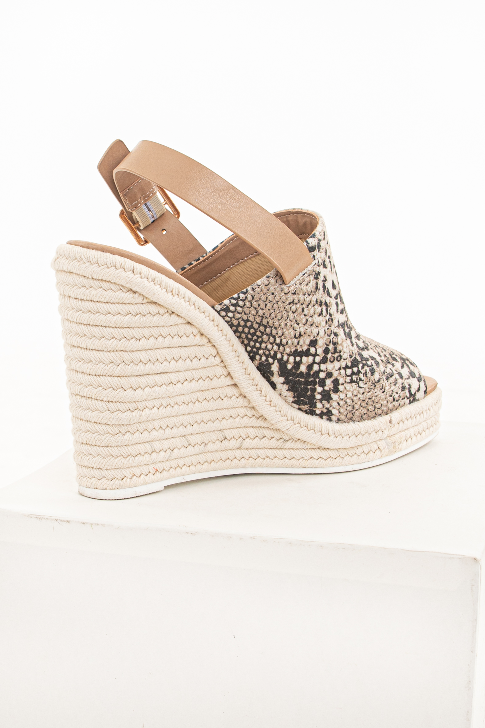 Latte Snake Print Espadrille Wedges with Open Toe and Strap