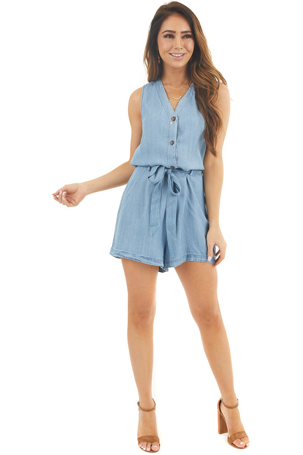 Light Denim Sleeveless Button Up Romper with Waist Tie front full body
