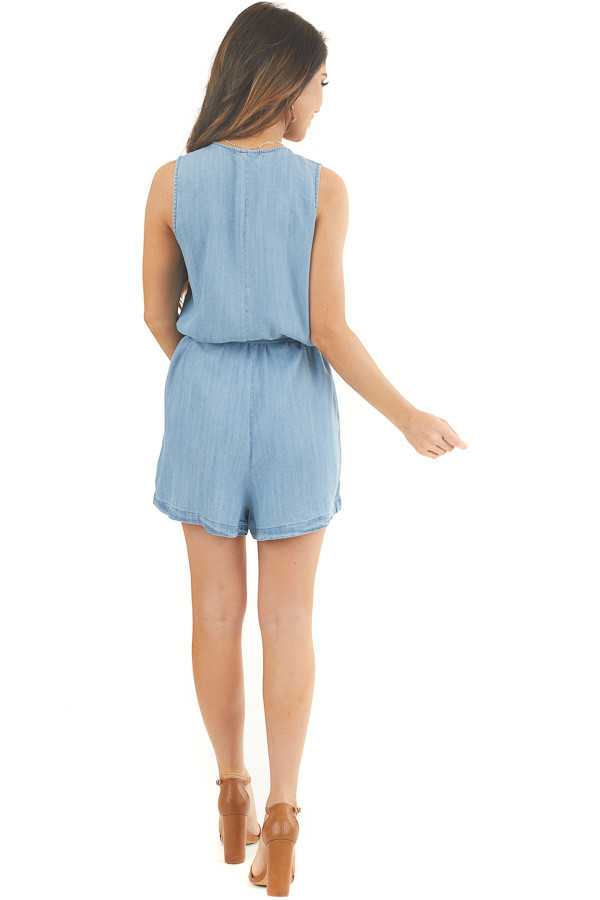 Light Denim Sleeveless Button Up Romper with Waist Tie back full body