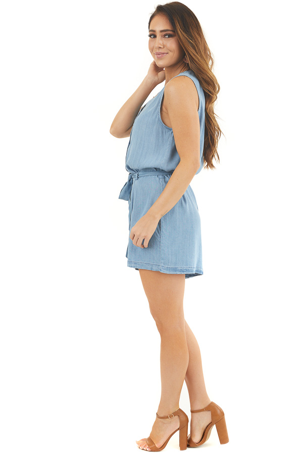 Light Denim Sleeveless Button Up Romper with Waist Tie side full body