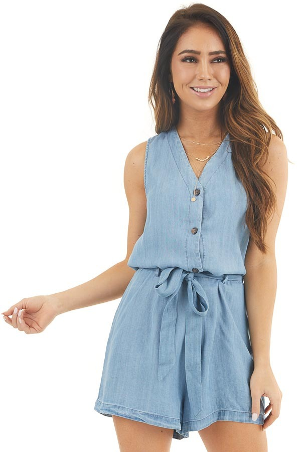 Light Denim Sleeveless Button Up Romper with Waist Tie front close up